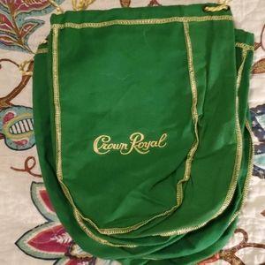 Medium Size Green Crown Royal Bags (lot of 5)